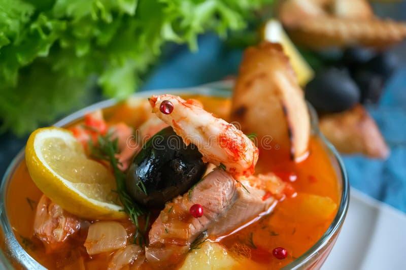 Franskan fiskar soppabouillabaissen med skaldjur, laxfilén, räka, rich anstrykning, läcker matställe i en härlig vit arkivbild