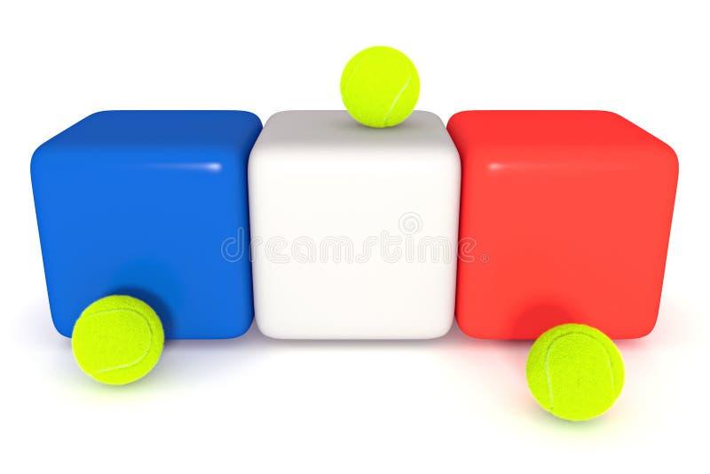 Franskan sjunker, Tricolor kuber med tennisbollar, illustrationen 3d vektor illustrationer