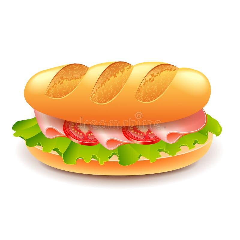 Franskasmörgås som isoleras på den vita vektorn royaltyfri illustrationer