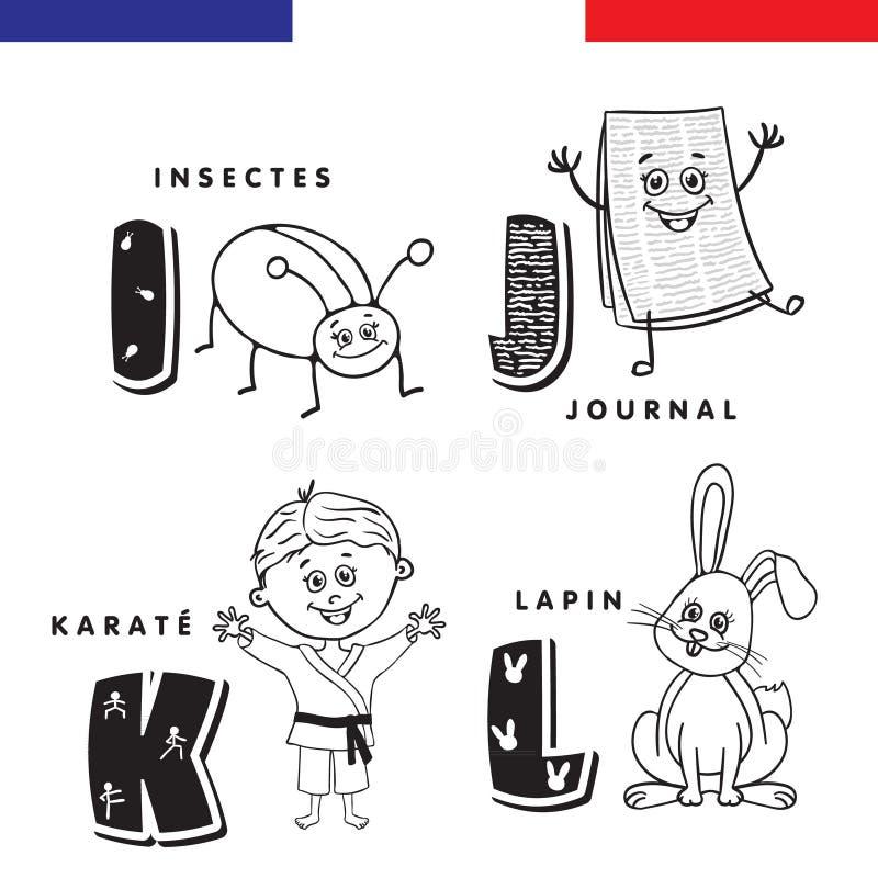 Franskt alfabet Kryp tidning, karate, kanin Vektorbokstäver och tecken royaltyfri illustrationer