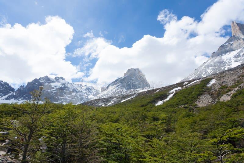 Franskt dallandskap, Torres del Paine, Chile royaltyfria bilder