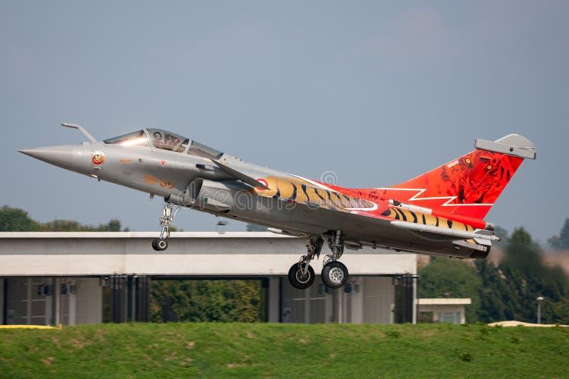 Franskt flygplan för flygvapenArmee De L'Air Dassault Rafale C multirole kämpe arkivbild