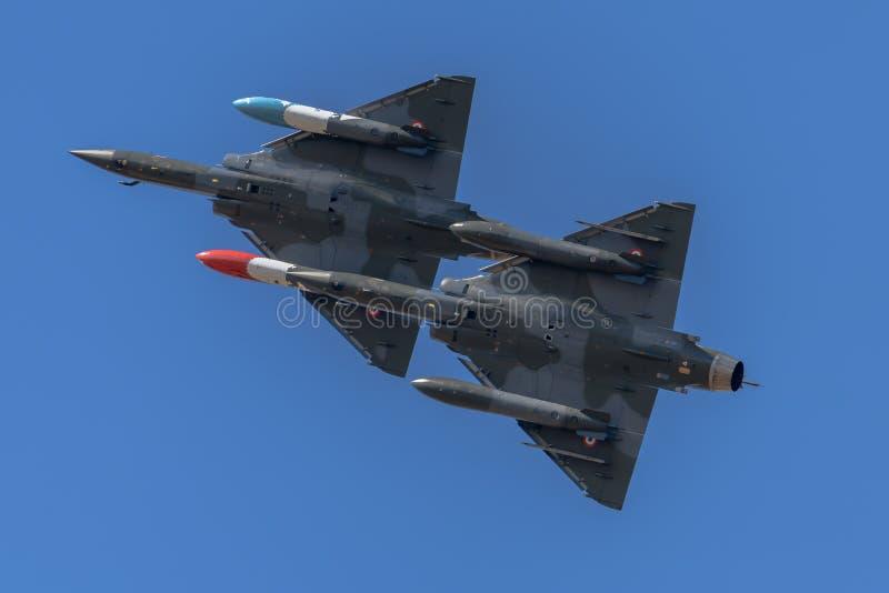 Franskt flygplan 2000 för flygvapenDassault hägring fotografering för bildbyråer