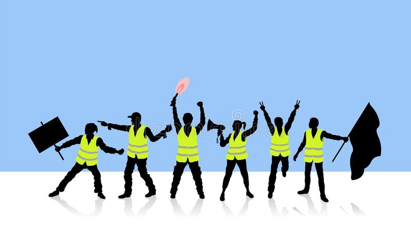 Franskt folk som protesterar bensinpriserna med gula västar vektor illustrationer