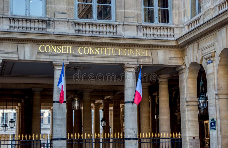 Franskt konstitutionellt råd - Paris, Frankrike royaltyfri bild