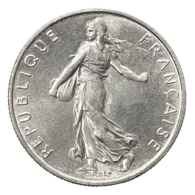 Franskt silvermynt royaltyfria foton