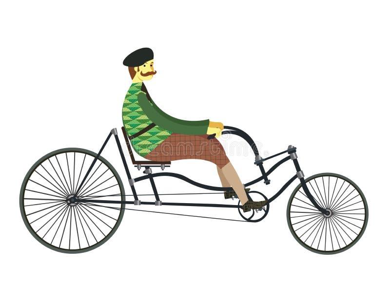 Fransman op retro uitstekende oude fiets vectordieillustratie op wit wordt geïsoleerd vector illustratie