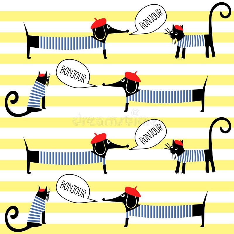 Französische Artkatzen und -hunde, die bonjour nahtloses Muster auf gestreiftem Hintergrund sagen stock abbildung