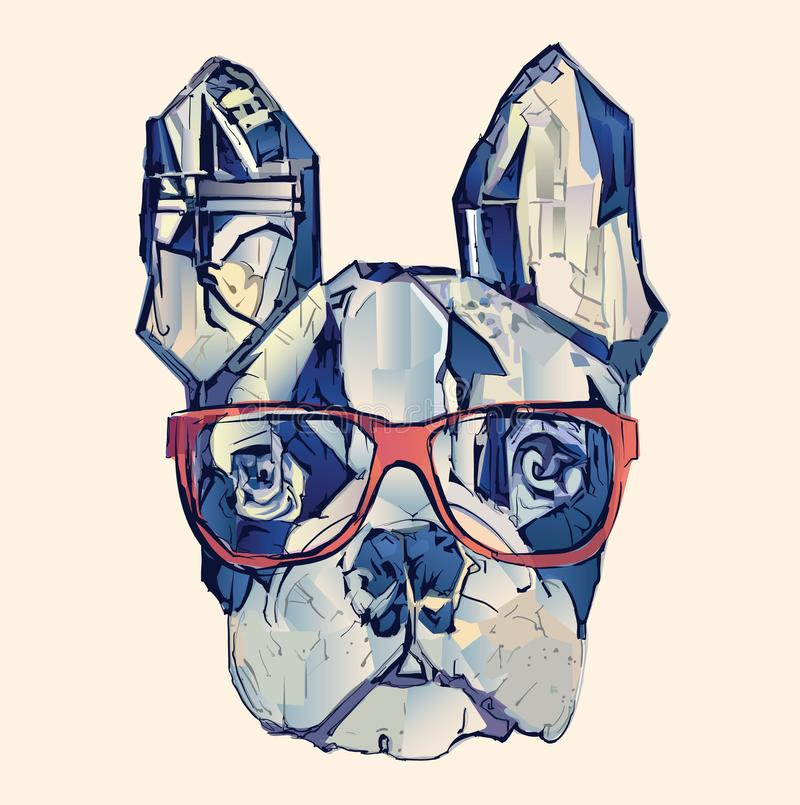 Französische Bulldogge im Blau lizenzfreie abbildung