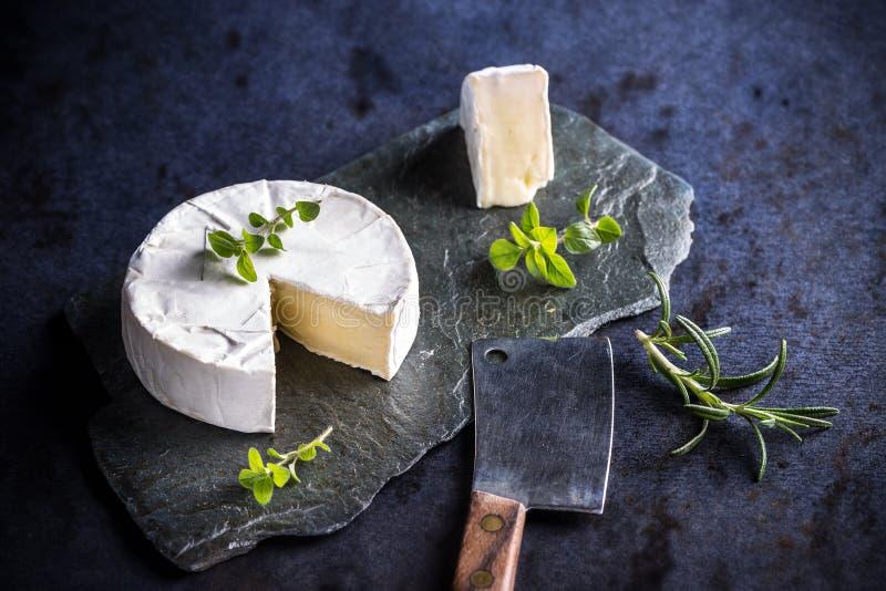 Französische Camembertstücke lizenzfreie stockfotos