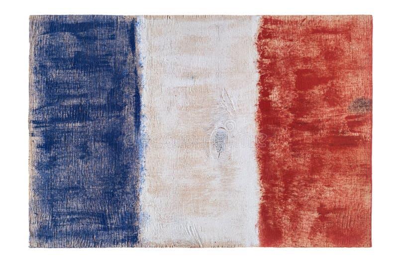 Französische Flagge Frankreichs auf hölzernem Hintergrund lizenzfreies stockfoto