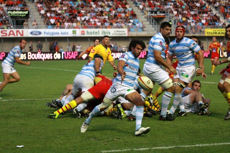 Französische freundliche Rugbyabgleichung USAP gegen das Laufen der Metros stockbilder