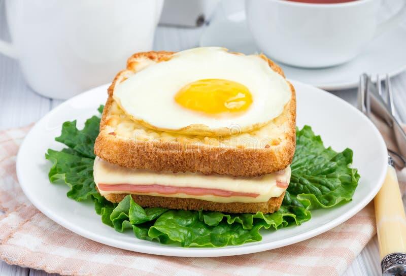 Französische geröstete Sandwich Croque Madame stockbild
