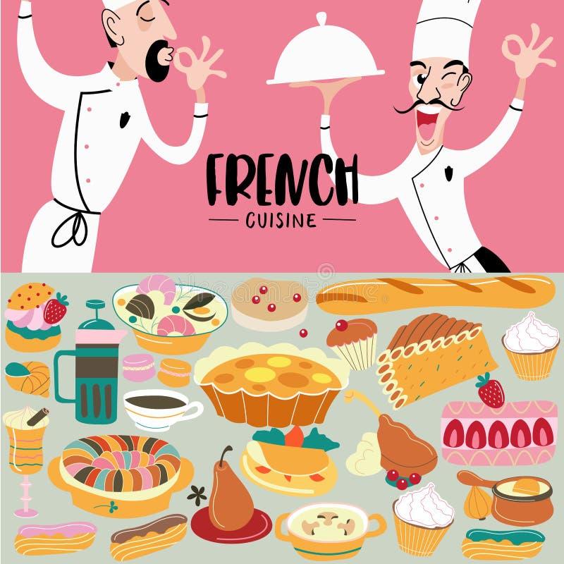 Französische Küche menü Ein Satz französische Teller und Gebäck vektor abbildung