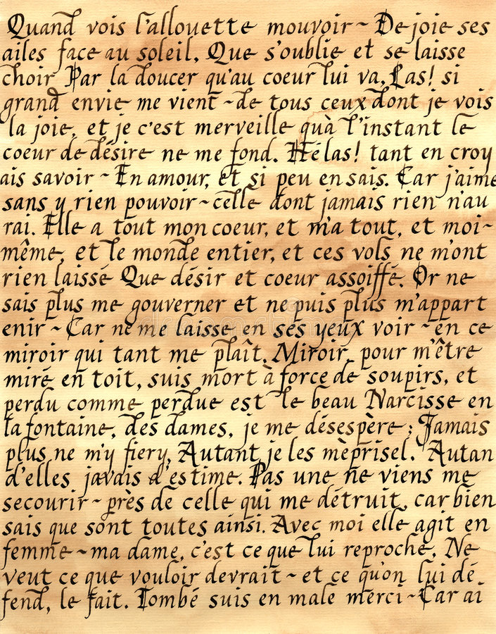 Französische Kalligraphie stockfotos