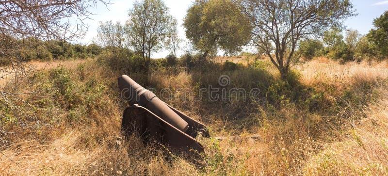 Französische Kanone zerstört von Senegal-Soldaten in französischer Armee im Jahre 1915 gallipoli Kampagne Die Kanone ist im midde lizenzfreies stockbild