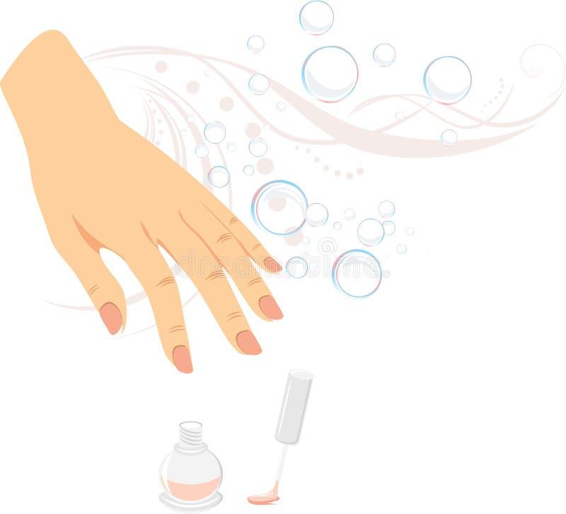 Französische Maniküre, Nageldecklack und Luftblasen stock abbildung