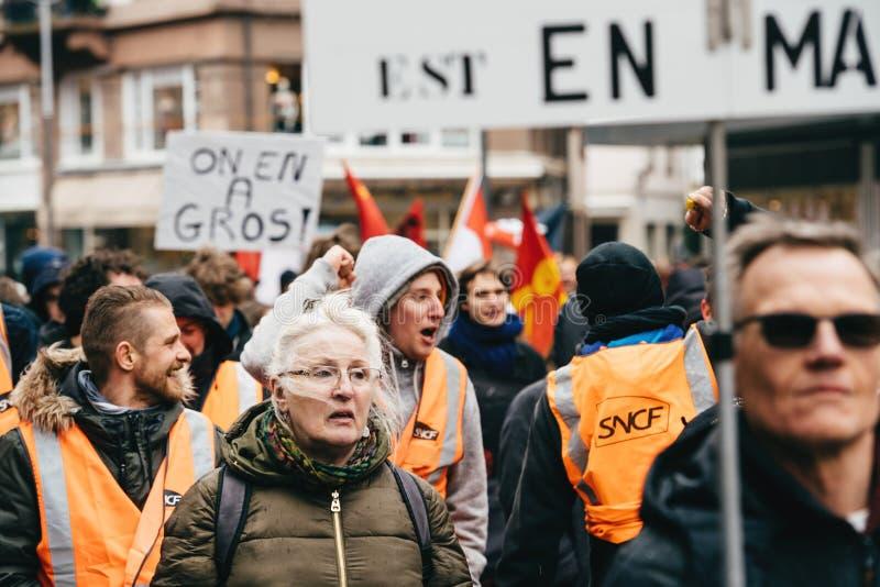Französische Regierungsschnur Protest Macron von Reformen stockfotografie