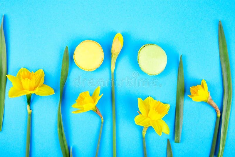 Französische Zartheit, Makronen bunt mit Frühlingsblüte stockbild