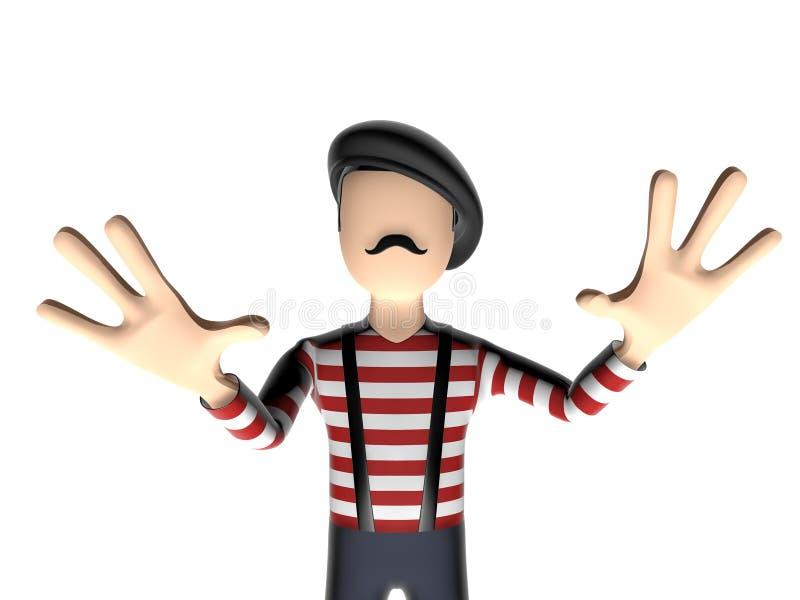 Französische Zeichentrickfilm-Figur 3D ängstlich stock abbildung