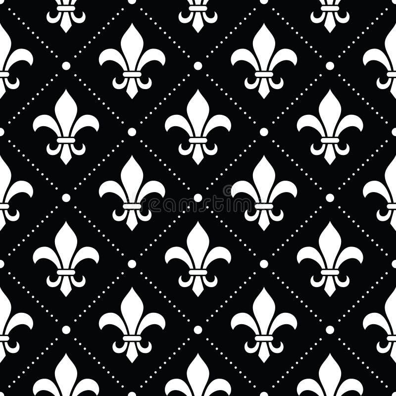 Französischer Damasthintergrund - weißes Muster Fleur de Lis auf Schwarzem stock abbildung