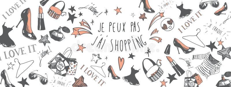 Französischer Einkaufshintergrund stock abbildung