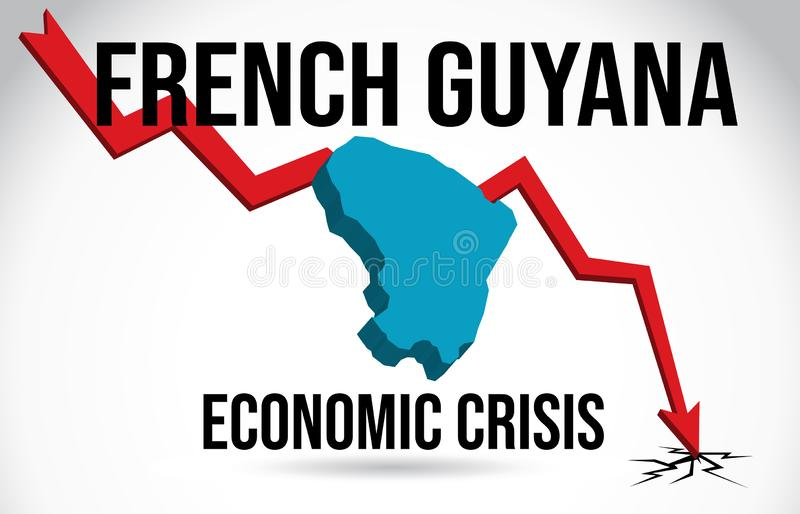 Französischer Guyana-Karten-Finanzkrise-wirtschaftlicher Einsturz-Börsenkrach-globaler Einschmelzen-Vektor stock abbildung