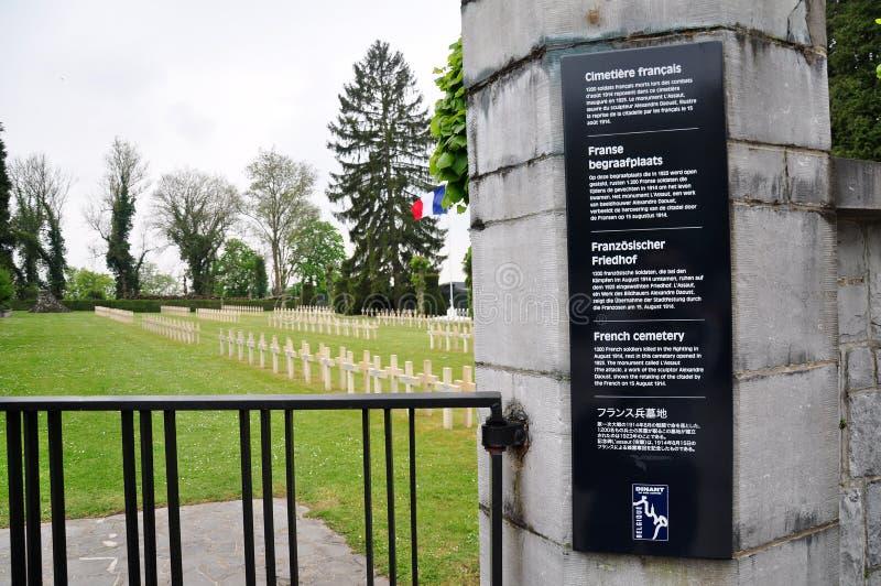 Französischer Kriegs-Kirchhof Citadelle Dinant, Belgien lizenzfreies stockfoto
