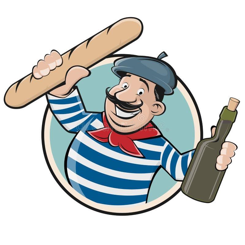 Französischer Mann mit Stangenbrot und Wein lizenzfreie abbildung