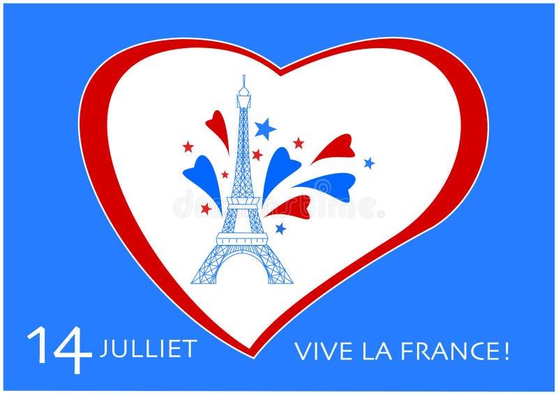 Französischer Nationalfeiertag 14 der Nationalfeiertag-Vektorgraphik Julis Frankreich vektor abbildung