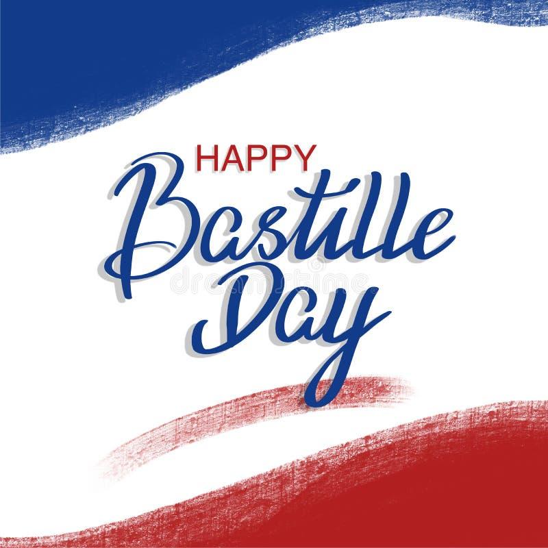 Französischer Nationaltag, 14. der Juli-Bürstenanschlagfahne in den Farben der Staatsflagge von Frankreich mit der Hand, die glüc vektor abbildung