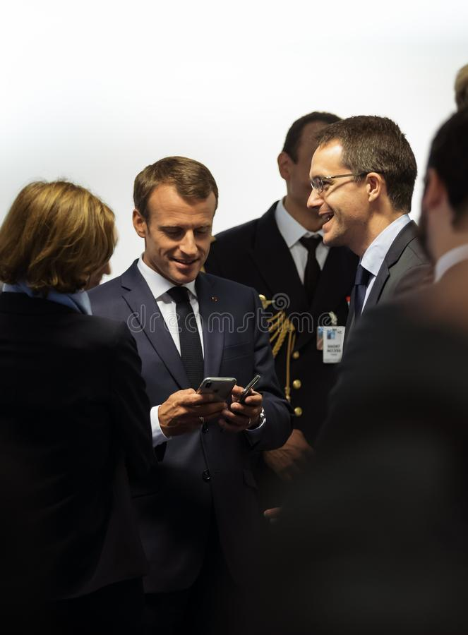 Französischer Präsident Emmanuel Macron lizenzfreie stockfotografie