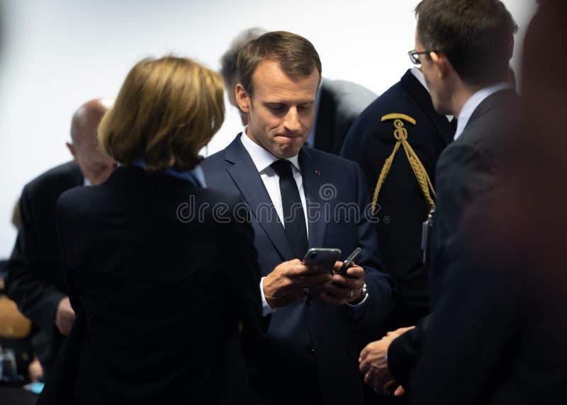 Französischer Präsident Emmanuel Macron stockfotografie