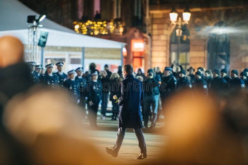 Französischer Präsident Emmanuel Macron in Straßburg nach Terroristen a lizenzfreies stockbild