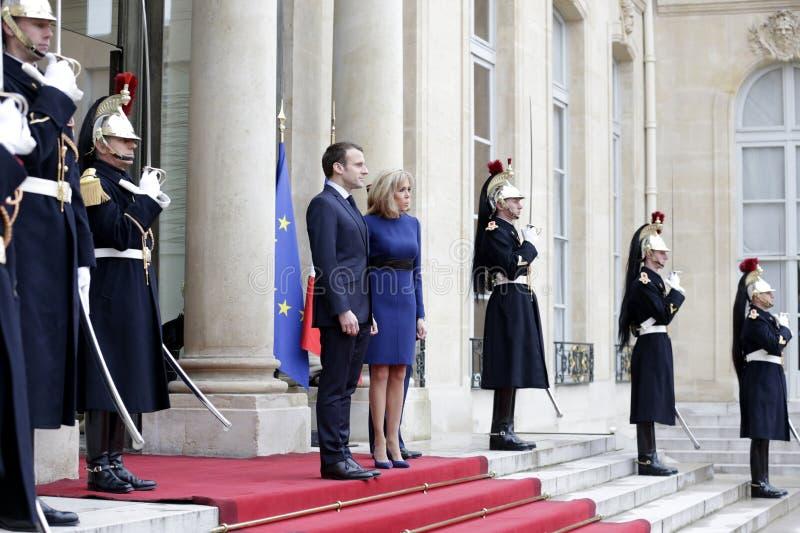 Französischer Präsident Macron und First Lady Brigitte stockfotos