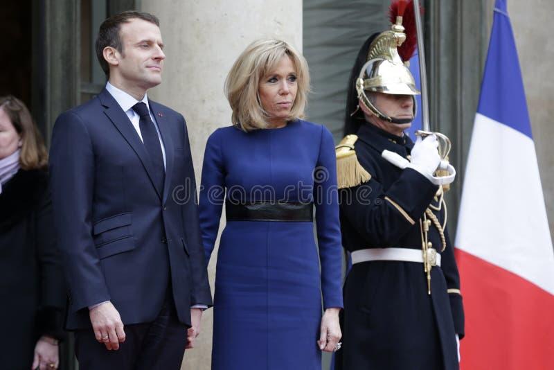 Französischer Präsident Macron und First Lady Brigitte lizenzfreies stockbild