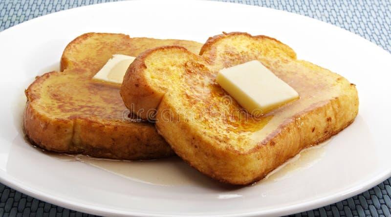 Französischer Toast mit Butter lizenzfreies stockbild