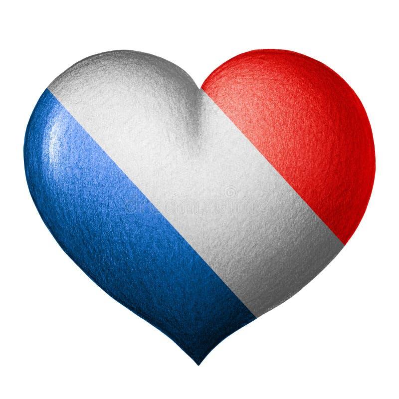 Französisches Flaggenherz Getrennt auf weißem Hintergrund lizenzfreie abbildung