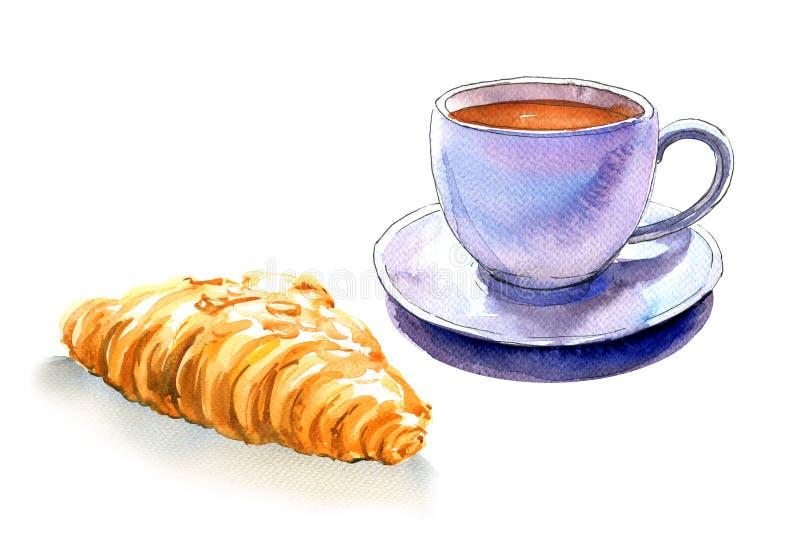 Französisches Frühstück, Tasse Kaffee und Hörnchen, lokalisiert, Aquarellillustration lizenzfreie stockfotografie