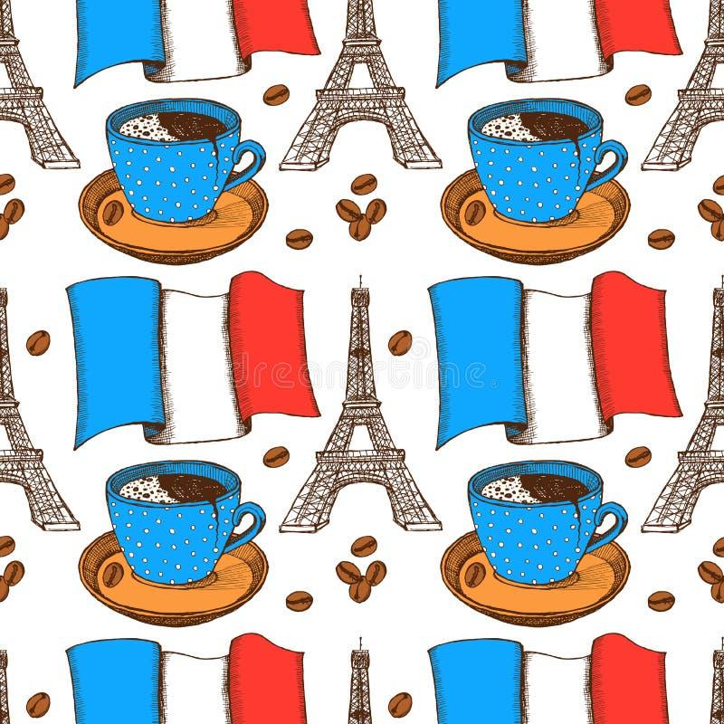 Französisches Muster der Skizze in der Weinleseart lizenzfreie abbildung