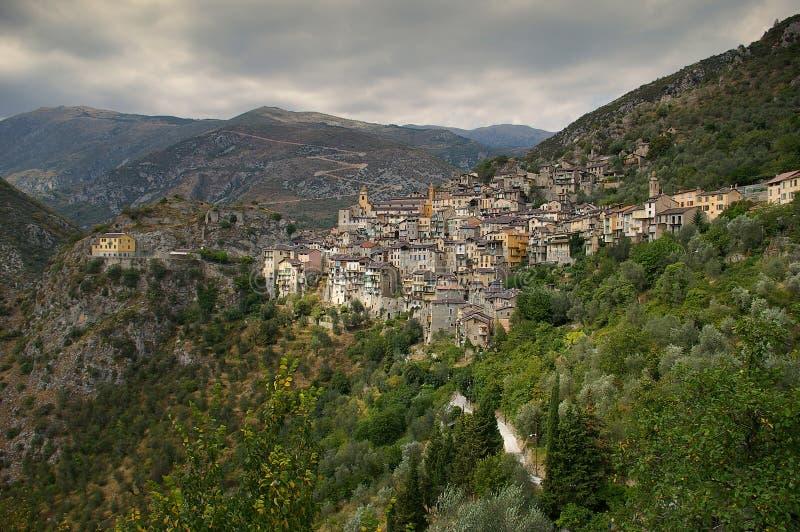 Französisches Riviera, Saorge-Dorf: Charme der mittelalterlichen Stadt stockbilder