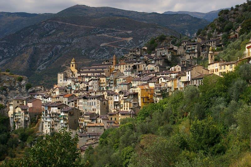 Französisches Riviera, Saorge-Dorf: Charme der mittelalterlichen Stadt lizenzfreies stockfoto