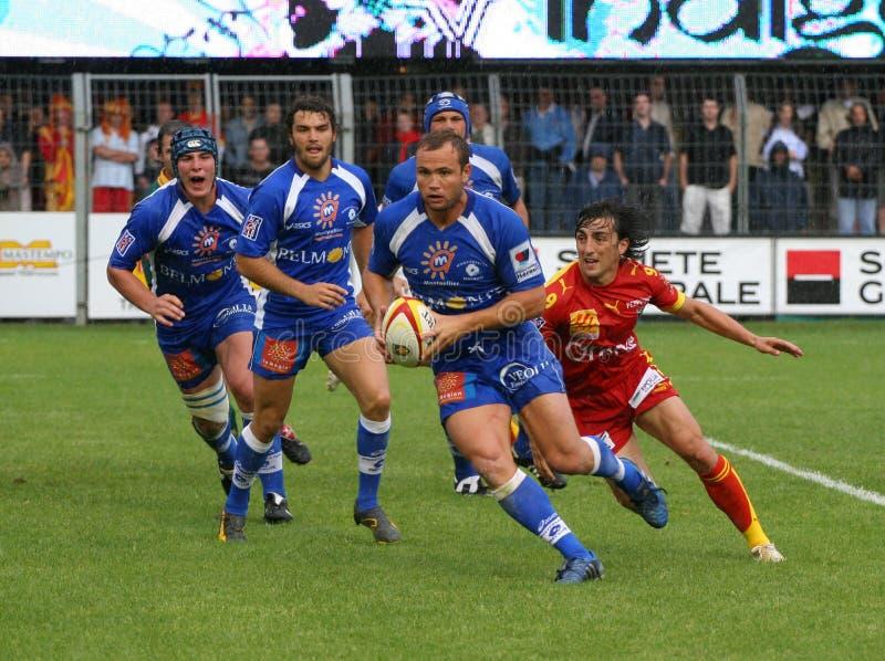 Französisches Rugby der Oberseiten-14 - USAP gegen Montpellier HRC stockfoto