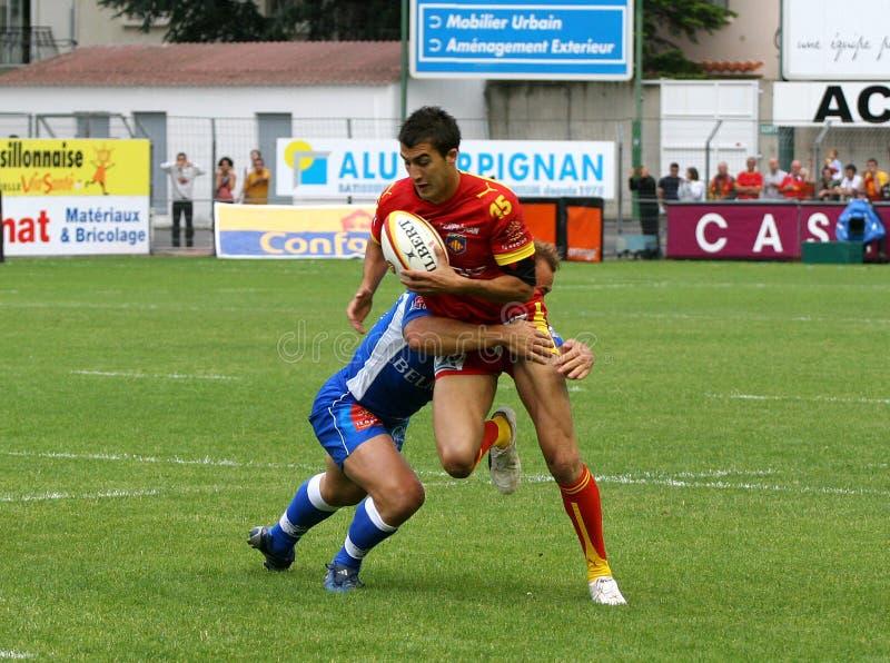 Französisches Rugby der Oberseiten-14 - USAP gegen Montpellier HRC lizenzfreie stockbilder