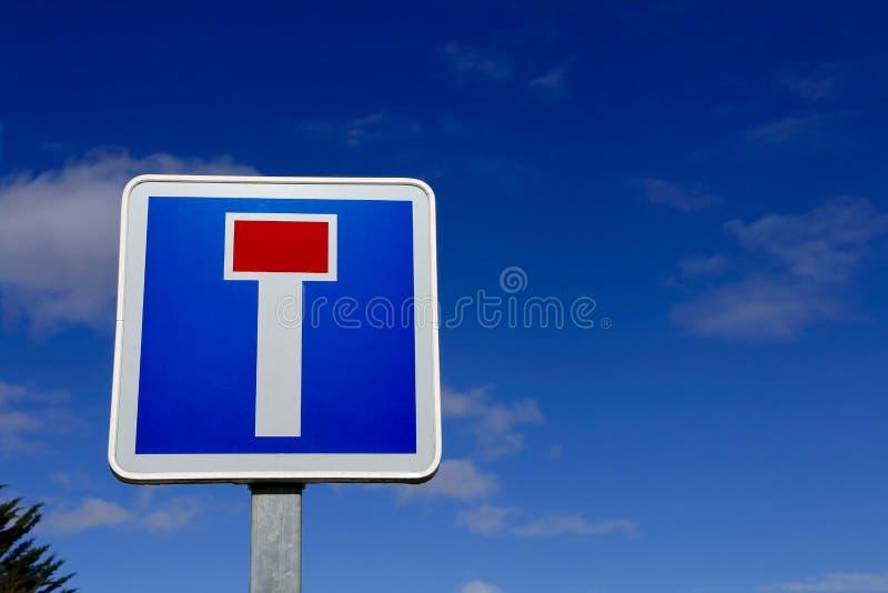 Französisches Sackgassestraßen-Verkehrsschild stockbild