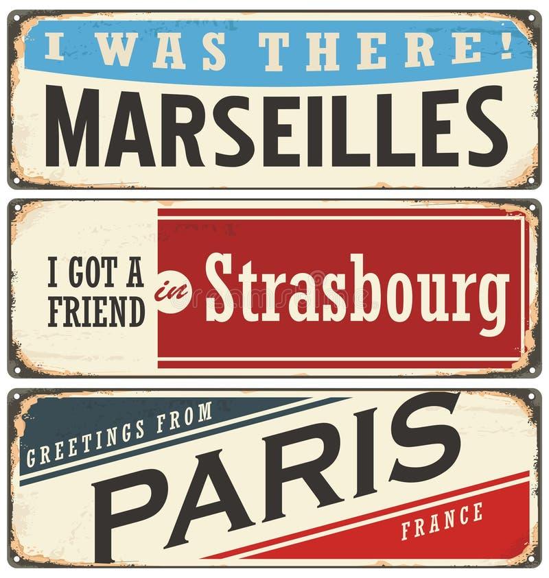 Französisches Stadtweinlesezinn unterzeichnet Sammlung stock abbildung