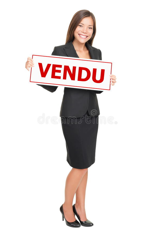 Französisches Verkaufszeichen des Grundbesitzes - affiche vendu lizenzfreie stockbilder