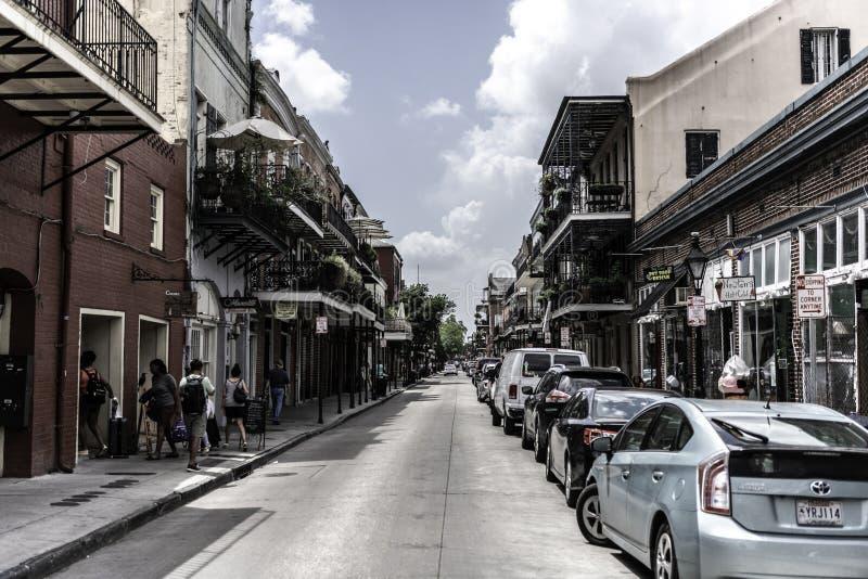 Französisches Viertel New Orleans und seine ikonenhaften Balkone stockbild