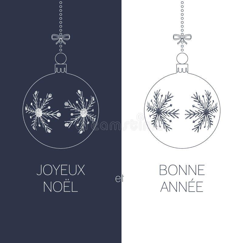 Französisches Weihnachts- und des neuen Jahresgrußkarte stock abbildung