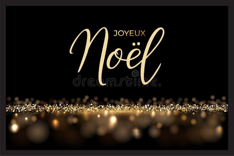 Französisches Weihnachtsluxusdesignschablone Vector Text Joyeux Noel, der auf glänzendem Luxushintergrund lokalisiert wird stock abbildung
